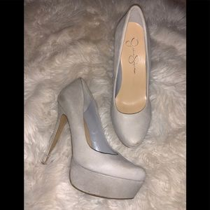 Jessica simpson  leather and suede platform shoes